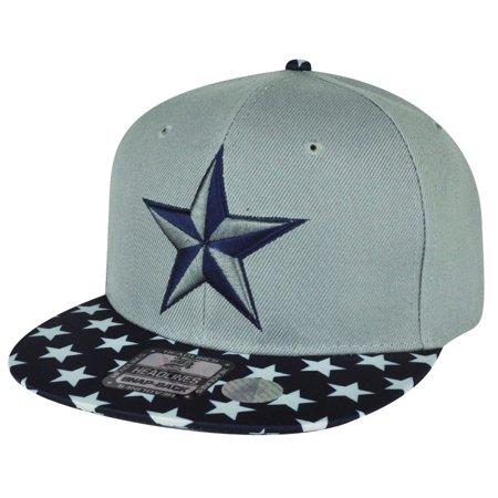 Nautical Star 3D Satin Flat Bill Snapback Patriotic Adjustable Hat Cap Gray  Blue - Walmart.com db358f4fd39
