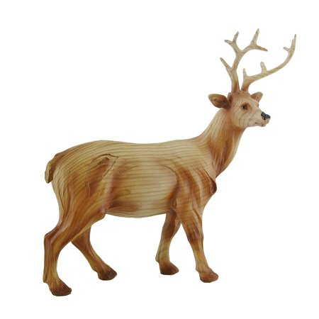 Decorative Faux Finish Carved Woodland Deer Statue 10 in. (Hand Carved Deer)