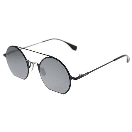 Fendi Eyeline FF 0291 807 T4Black Metal Round Sunglasses Blue Mirror Lens