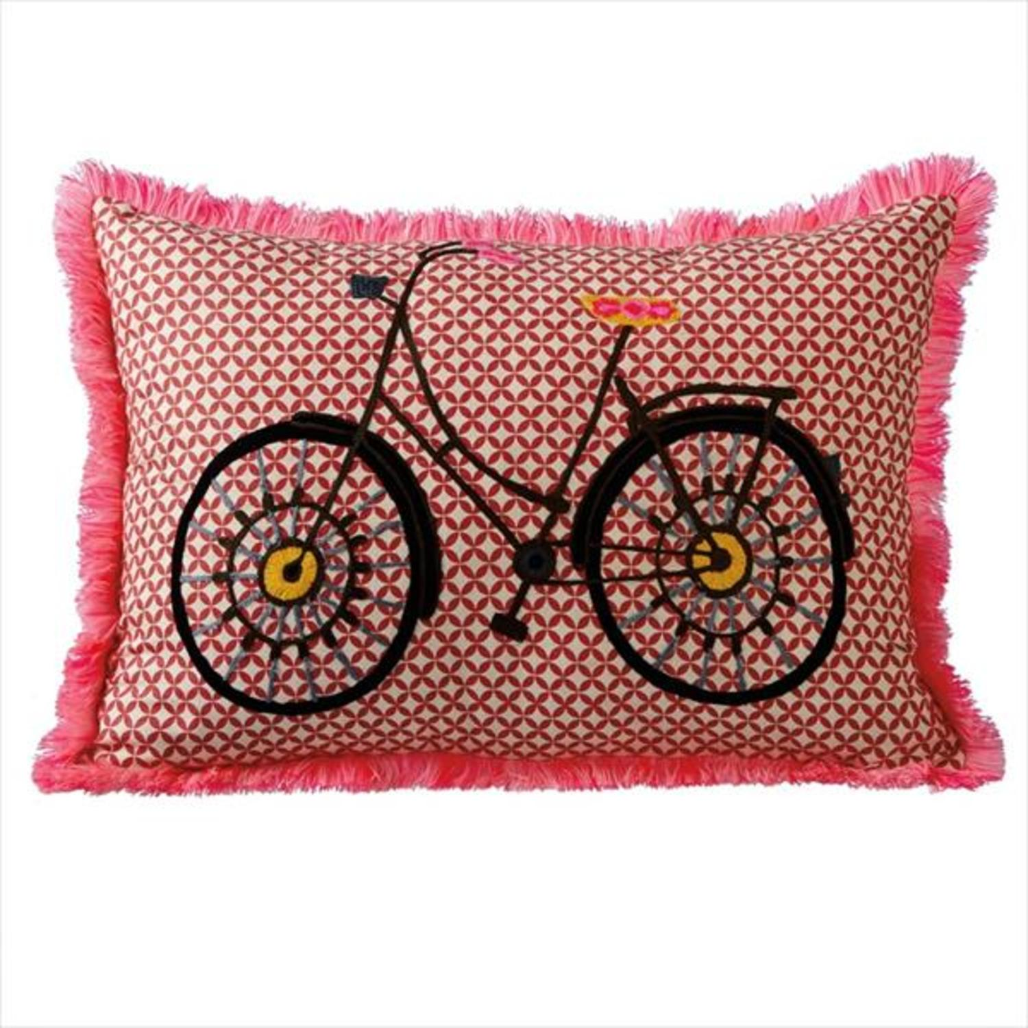 Pack of 2 Red with Pink Fringe Embroidered Bicycle Decorative Lumbar Pillow 20""