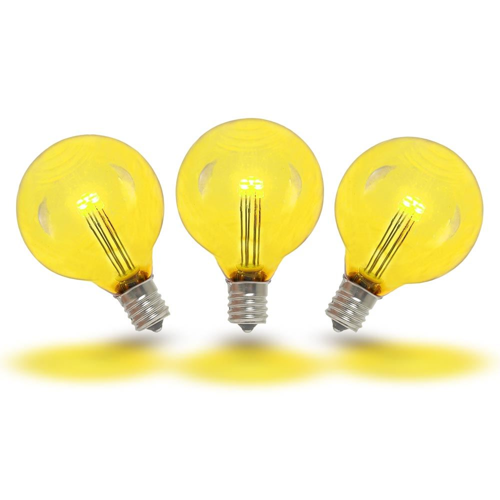 Novelty Lights 25 Pack G40 LED Outdoor String Light Patio Globe Replacement Bulbs, 3 LED's Per Bulb, Energy Efficient