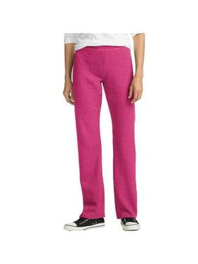 Hanes 738994621627 ComfortSoft Basics EcoSmart Womens Open Leg Fleece Sweatpants - Jazzberry Pink Heather - Medium