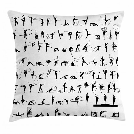 Gymnastics Throw Pillow Cushion Cover, Olympic Competition Themed Silhouettes Pattern with Ribbons and Podium, Decorative Square Accent Pillow Case, 16 X 16 Inches, Black and White, by Ambesonne - Olympic Themed Events