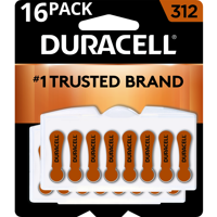 Duracell Hearing Aid Batteries with Easy-Fit Tab Size 312 16 Pack