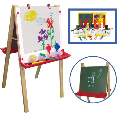 "Adjustable Art Easel with ""Learn Your Colors"" Paint Crate Set"