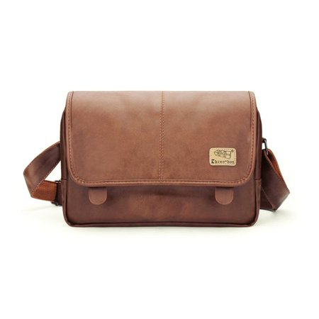 Men's Vintage Soft Leather Briefcase Shoulder Bag Laptop Messenger Bags For (Tumi Leather Briefcases)