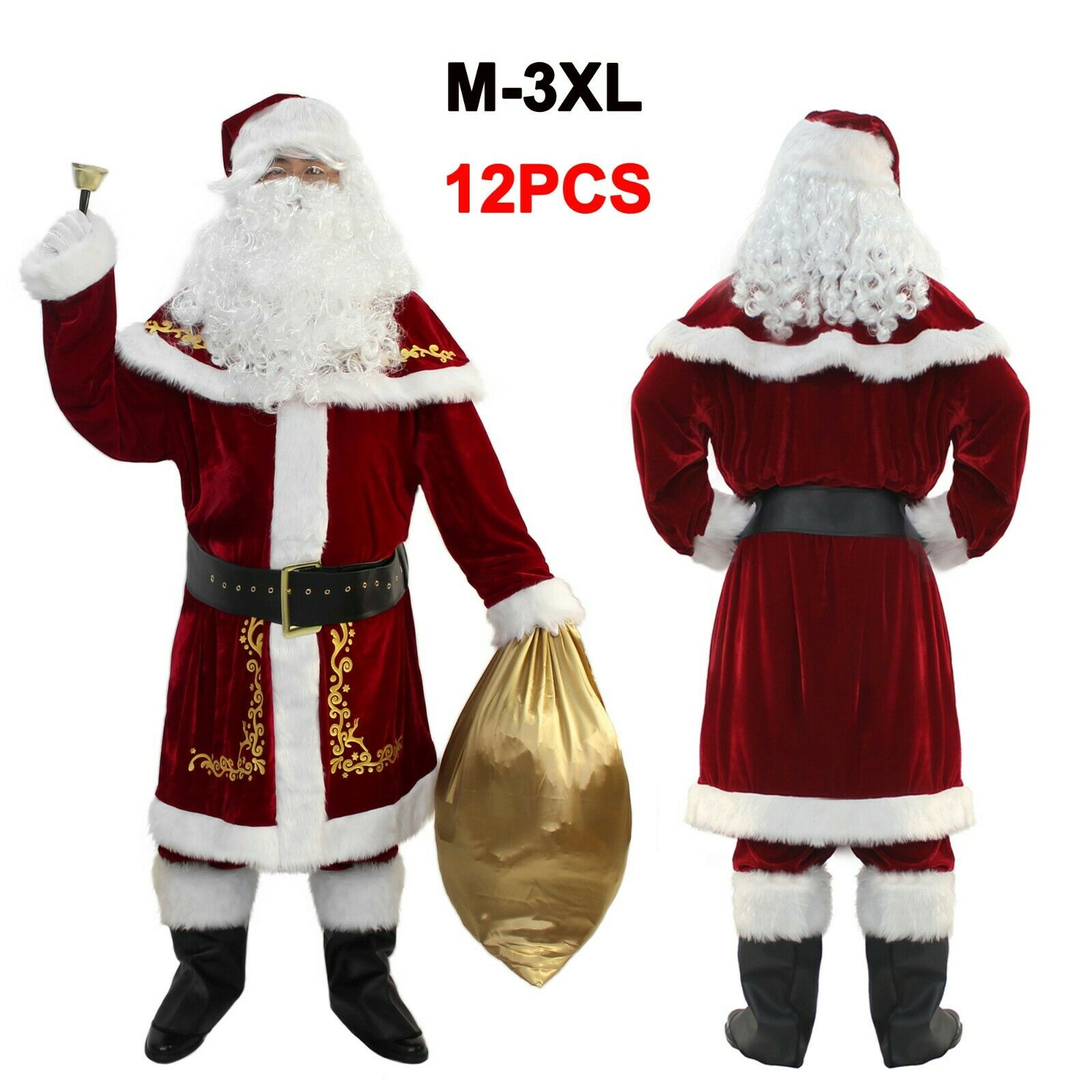 WeGuard Deluxe Velvet Adult Santa Suit for Men 12PCS Set Christmas Santa Clause Costume