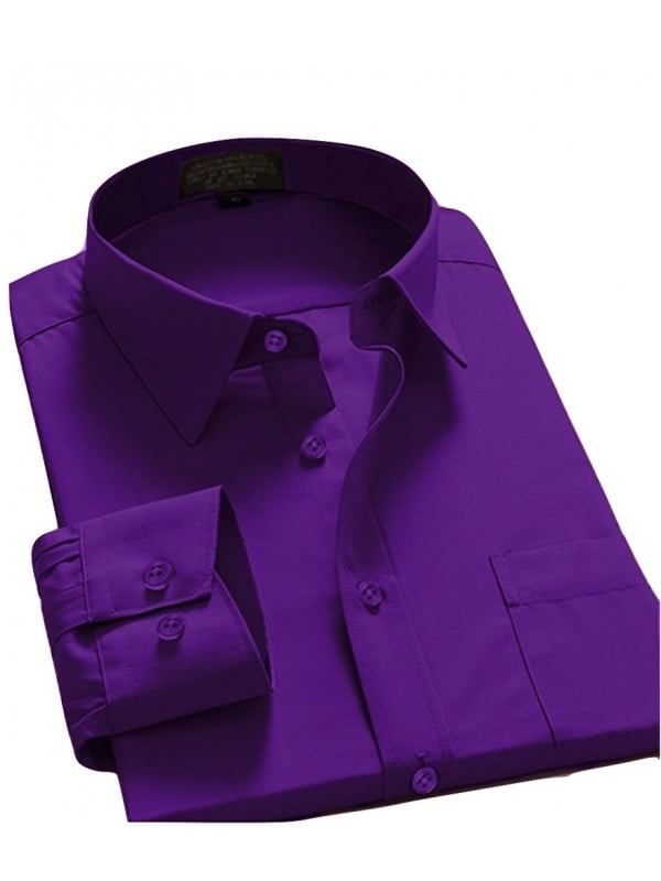 Men Dress Shirt Regular Fit Oxford Solid Color by