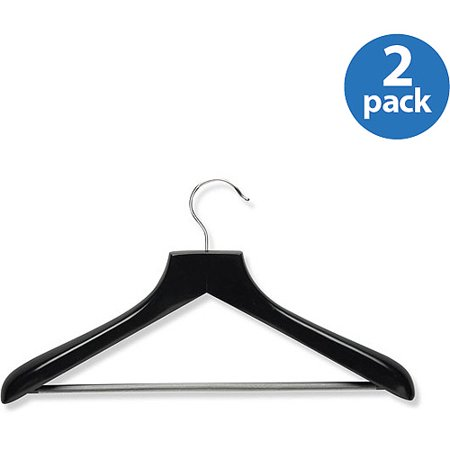 Honey Can Do Curved Wood Suit Hanger, Ebony, 2-Pack