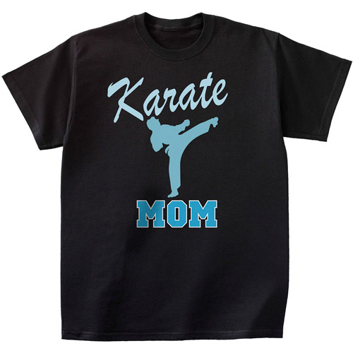 Personalized Sport T-shirt, Black with Blue Print, Large
