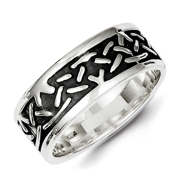 925 Sterling Silver Design Band Ring Size 9.00 Man Fine Jewelry Gift For Dad Mens For Him - image 2 de 2