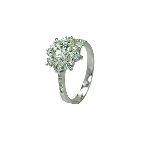 Sterling Silver Rhodium Plated Clear Round Center Micro Pave Set Cz Flower Bridal Ring  Moon Collection