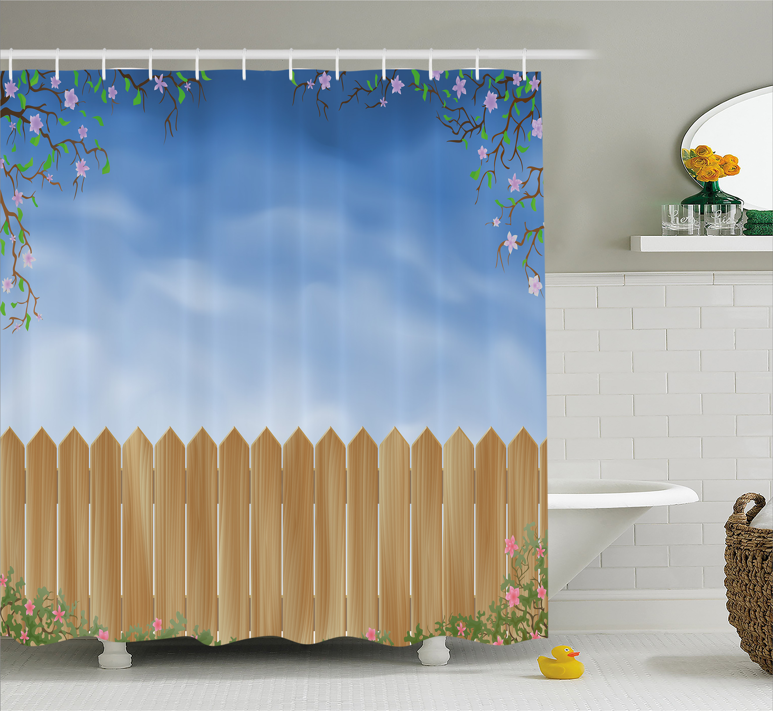 Farm House Decor Shower Curtain, Wooden Garden Plank with Swirled Spring Season Bloom Up Tranquil Landscape, Fabric Bathroom Set with Hooks, 69W X 84L Inches Extra Long, Blue Brown, by Ambesonne