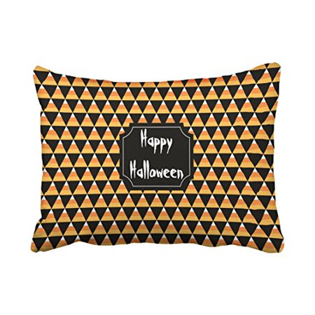 WinHome Girly Popular Candy Corn Print Pattern Happy Halloween Polyester 20 x 30 Inch Rectangle Throw Pillow Covers With Hidden Zipper Home Sofa Cushion Decorative - Halloween Candy Popular