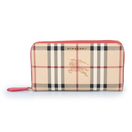 Burberry Horseferry Check Zip Around Wallet in Crimson Red (Burberry Check Buckle)