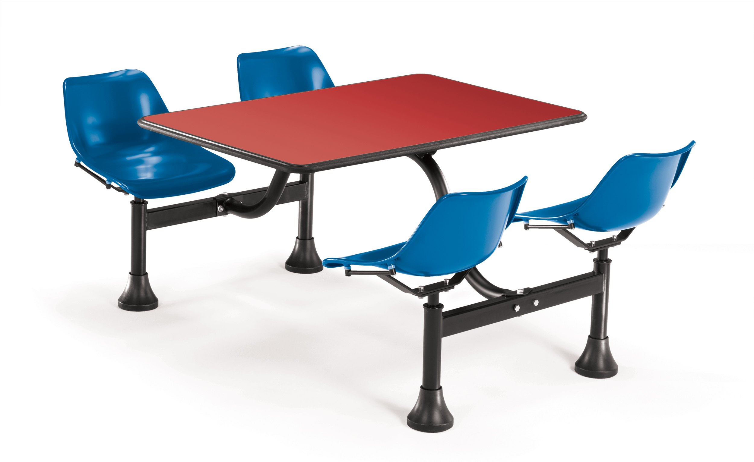 1002-BLUE-RED Group Seating Restaurant outdoor furniture cluster table Red top attached 4 Blue swivel seat 250 lbs... by ofminc
