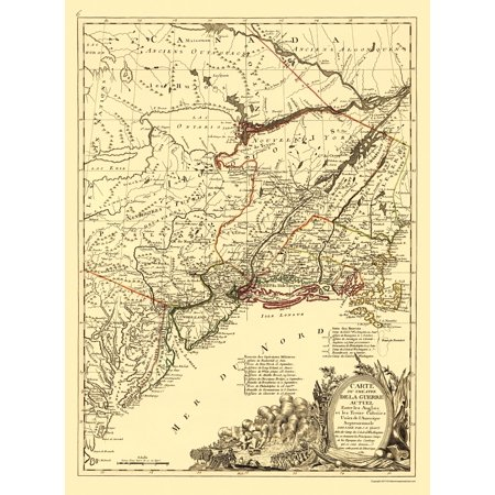 Old Revolutionary War Map - Seat of War British and 13 Colonies 1781 - 23 x  32