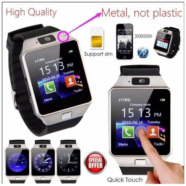 Square Imports Dz09 Bluetooth 4 1 Smart Watch Phone Camera Sim Card For Android Ios Phones Us Walmart Com Walmart Com