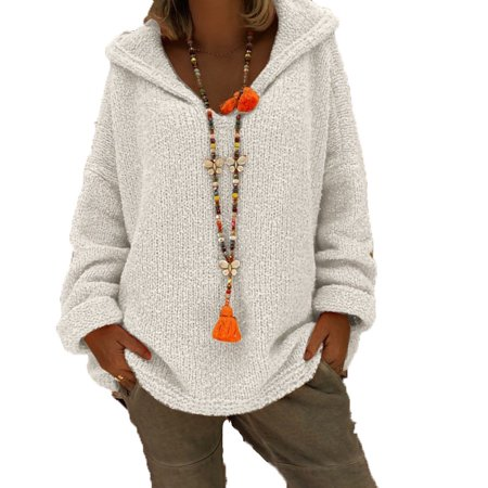 Women Fashion V-neck Hooded Knit Sweater Tops Long Sleeve Winter Warm Casual Solid Color Pullovers Jumpers Cable Knit Hooded Sweater