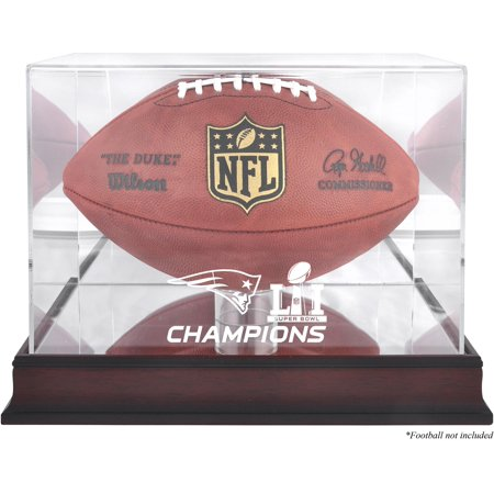 New England Patriots Super Bowl LI Champions Mahogany Football Logo Display Case