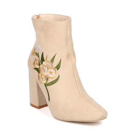 Women Embroidered Block Heel Bootie - Chunky Heel Bootie - Flora Stitching Ankle Boot - HK43 by