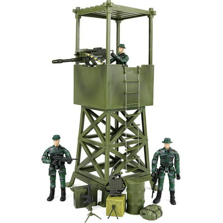 Click N' Play Military Lookout Watch Tower 16 Piece Play Set With - Military Toys