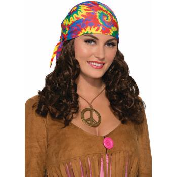 Hippie Adult With HeadscarfHalloween Costume Accessory Wig - Costume With Wig