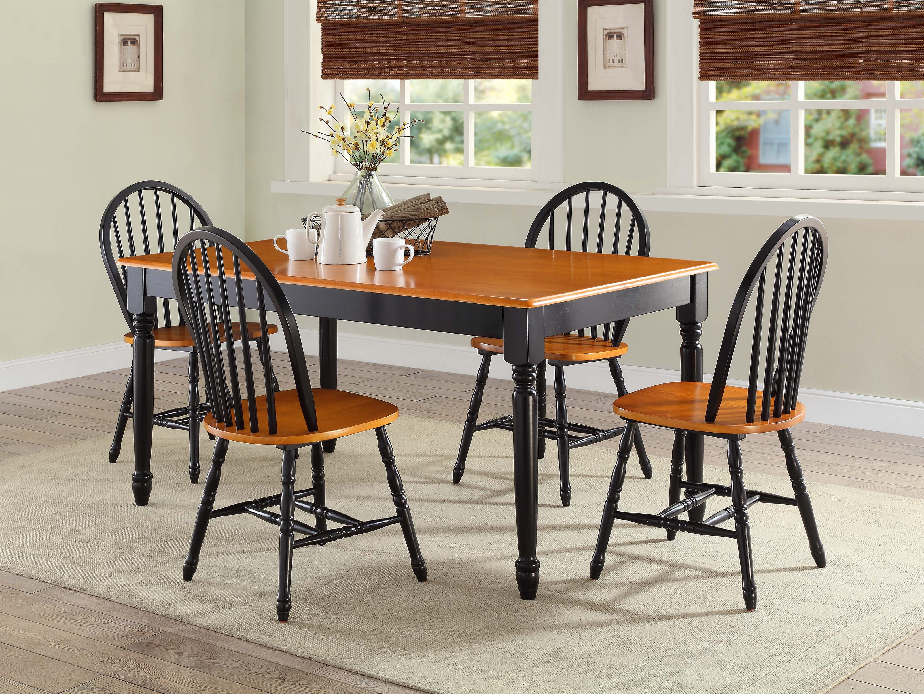 Beau Better Homes And Gardens Autumn Lane Windsor Chairs, Set Of 2, Black And Oak
