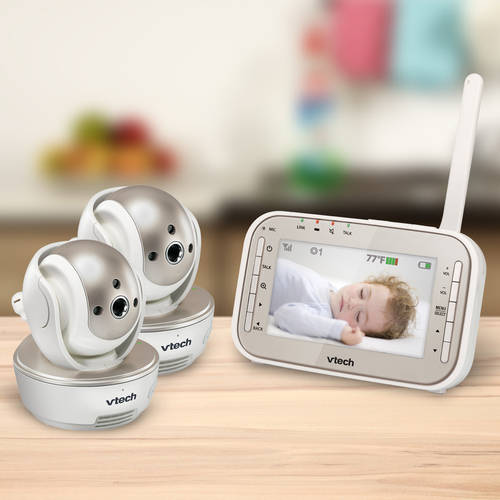 VTech VM343-2 Expandable Digital Video Baby Monitor with 2 Pan and Tilt Cameras and Automatic Night Vision, White and Champagne