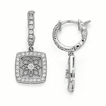 Sterling Shimmer QE11279 Boucle d'oreille en forme de flocon de neige carr-e, articul-e, en zirconium plaqu- en argent sterling, polie - image 2 de 2