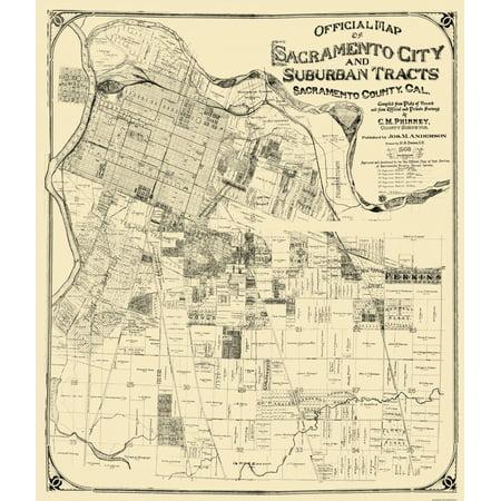 Old City Map Sacramento California Landowner Anderson 1908 23