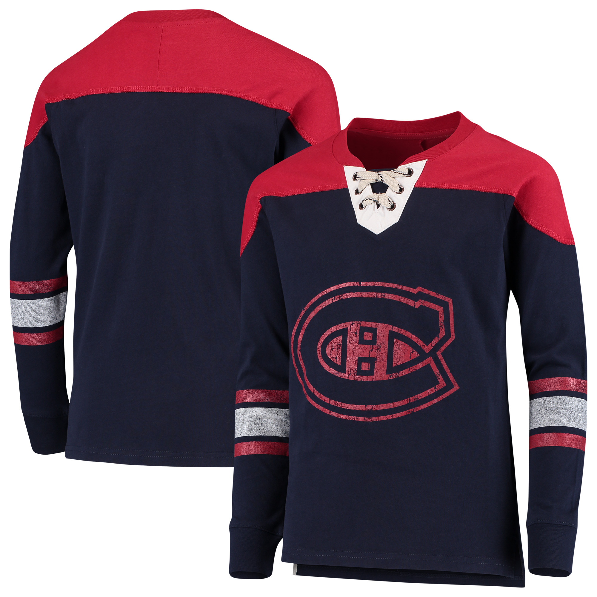 Montreal Canadiens Youth Perennial Hockey Lace-Up Crew Sweatshirt - Navy/Red