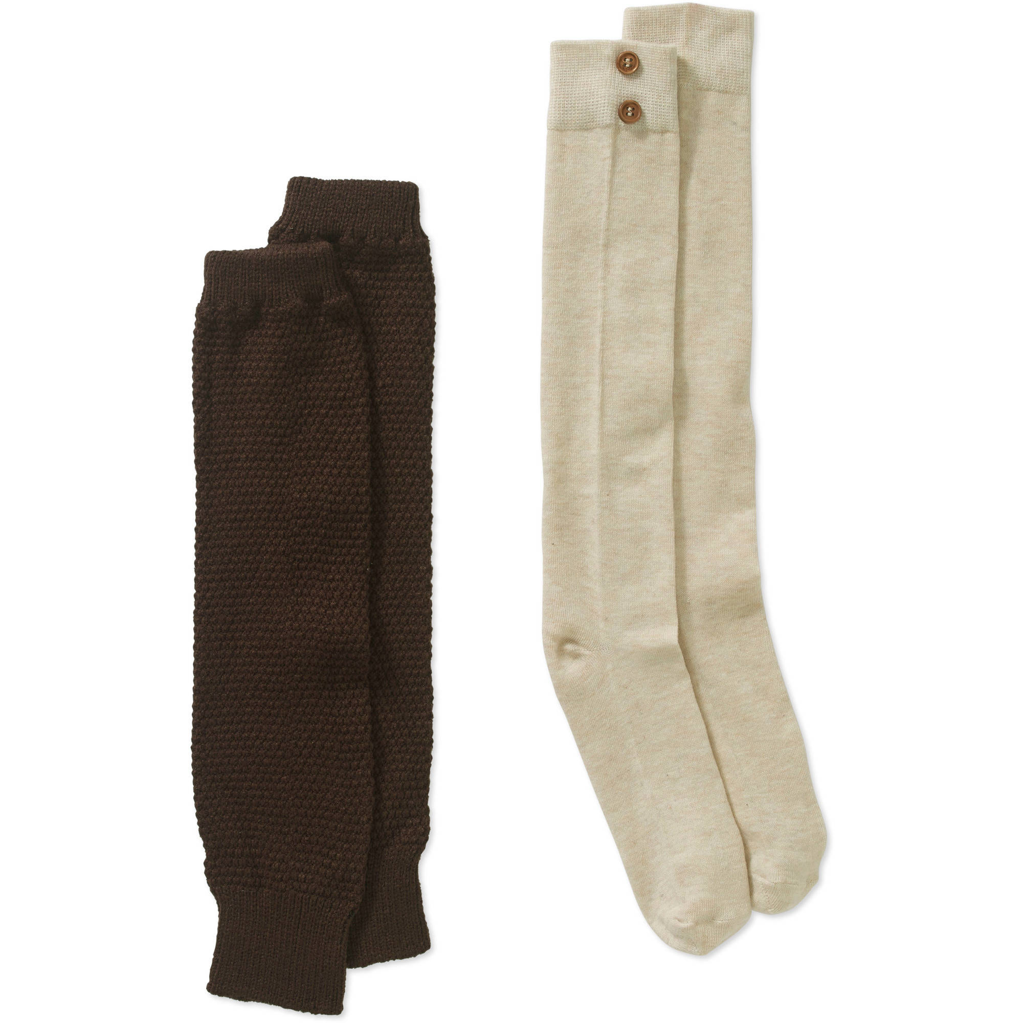 Ladies Ribbed Seed Stitch Textured Legwarmer & Knee High with Button Detail Sock Set