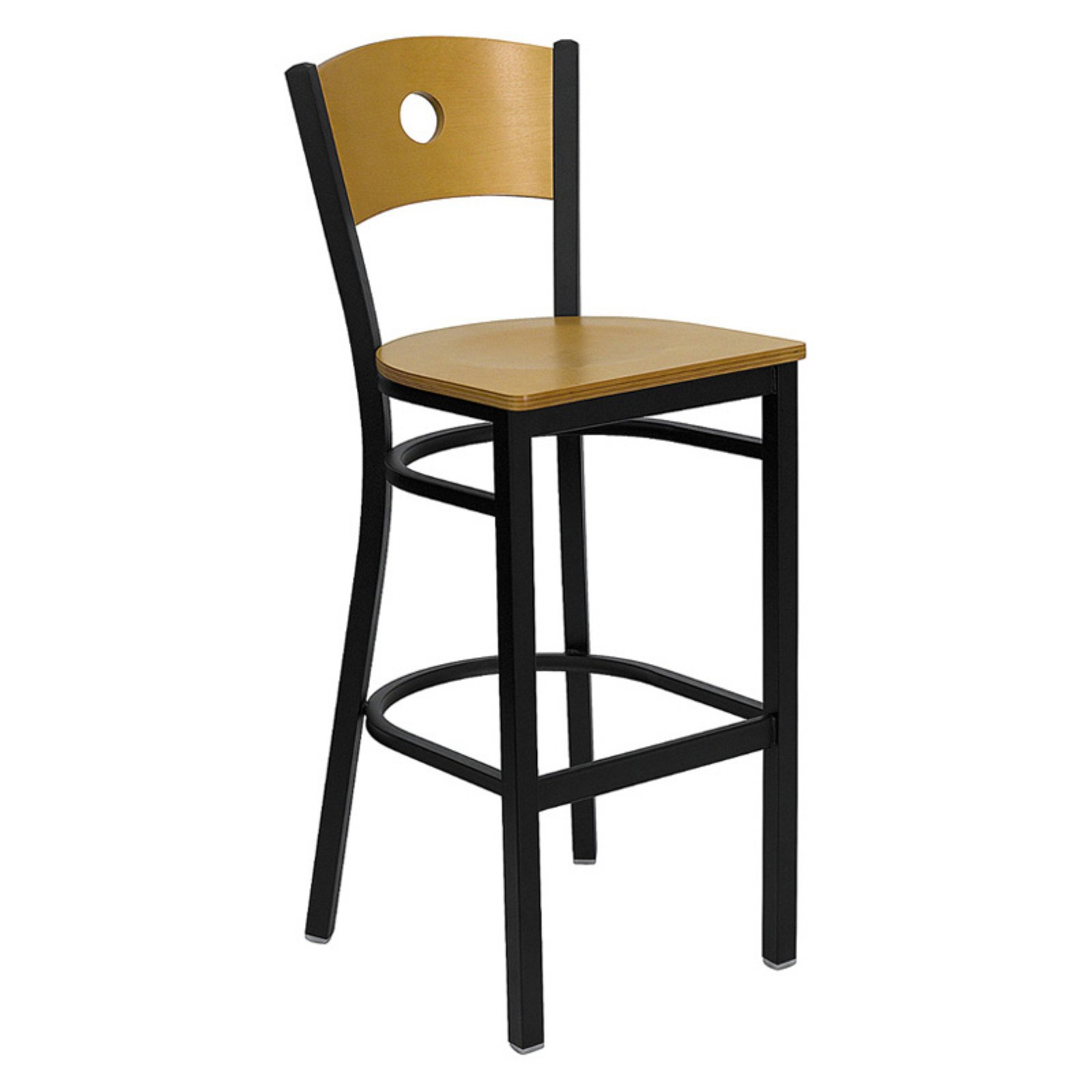 "Metal Circle Back Bar Stool 30"", Black and Natural"