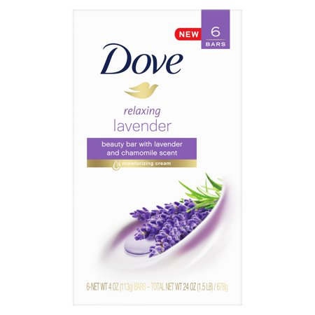Dove Purely Pampering Beauty Bar Relaxing Lavender 4 oz, 6 - Woods Lavender Soap