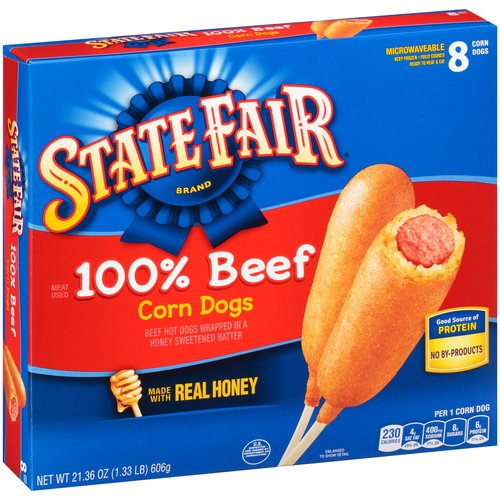 State Fair Brand 100% Beef Corn Dogs, 8 count, 21.36 oz