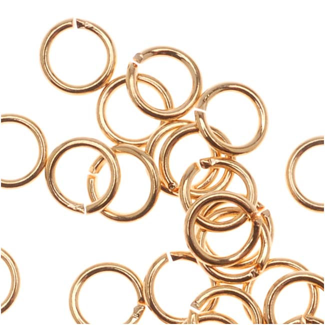 22K Gold Plated Open 4mm Jump Rings 22 Gauge (50)