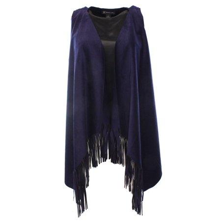 - INC NEW Blue Navy Women's Large L Fringe Trim Faux Suede Vest Jacket $79 #545