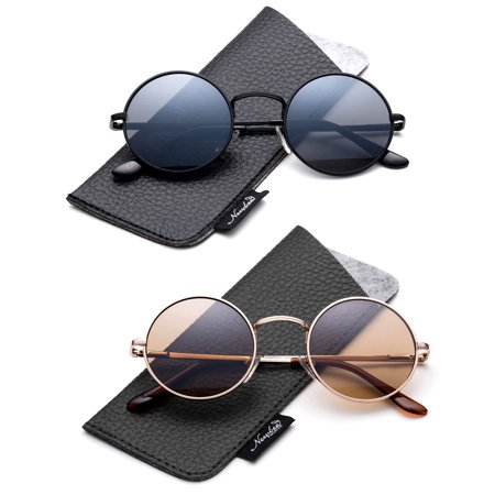 Retro Round Small 48mm Vintage Hippie Round Polaroid Sunglasses Driving Polarized Glasses Steampunk John Lennon Sunglasses-2 (Polarized Sunglasses For Driving)