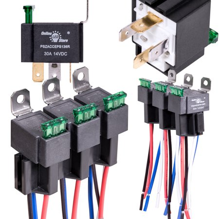 OLS 12V 30 Amp Fuse 4-Pin SPST Bosch Style Electrical Relay Harness  Pin Amp Relay Wiring on