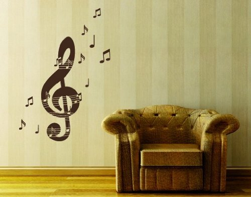 Music Notes With Treble Key Wall Decal   Musical Notes Wall Sticker, Treble  Clef Vinyl Wall Art, Music Home Decor, Music Staff Wall Mural   2533   20in  X ...