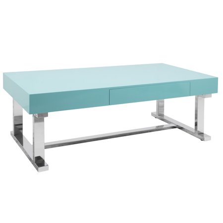 Luster Contemporary Coffee Table Light Blue/Chrome - LumiSource
