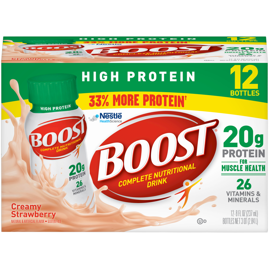 Boost High Protein Complete Nutritional Drink, Creamy Strawberry, 8 Fl oz Bottle, 12 Count