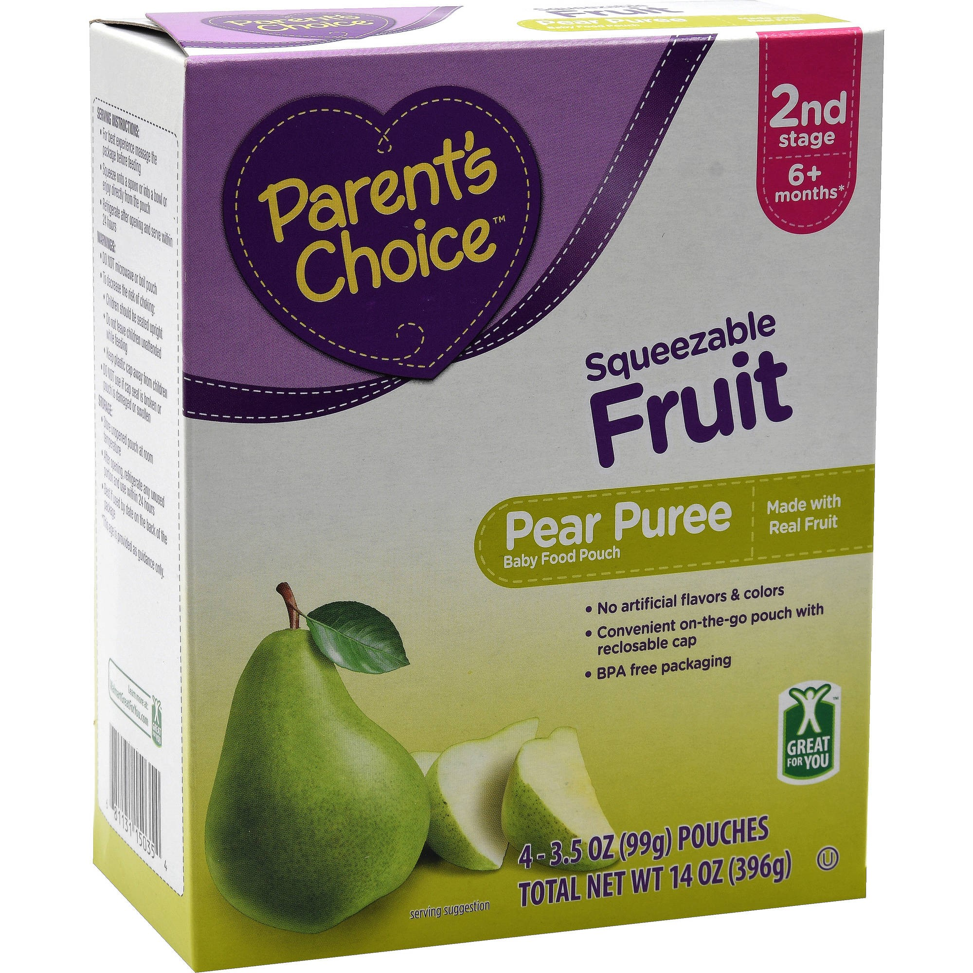 Parent's Choice Pear, Stage 2, 3.5 oz Pouch, 4 Pack