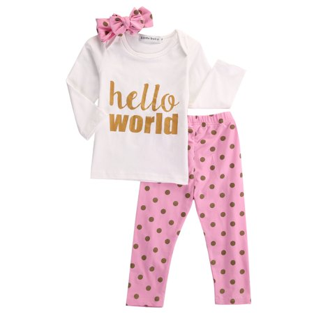 0-24M Newborn Infant Baby Girls Shirt Pants Headband Outfit Cotton 3Pcs Spring Fall Clothes (Toddler Girl Spring Clothes)