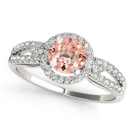 1.15 Ct Diamond - 1.15 Ct. Halo Morganite And Diamond Engagement Ring In 14k White Gold