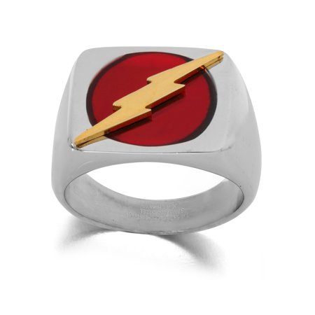 DC Comics The Flash Men's Stainless Steel Logo Ring, Size 10](Flashing Ring)