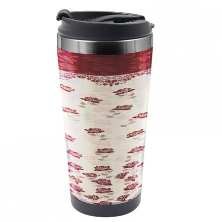 EAN 8682526549939 product image for Floral Travel Mug, Vintage Art Romantic Roses, Steel Thermal Cup, 16 oz, by Ambe | upcitemdb.com