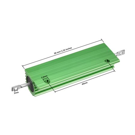 Aluminum Case Resistor 100W 60 Ohm Wirewound Green for LED Replacement Converter - image 3 de 4