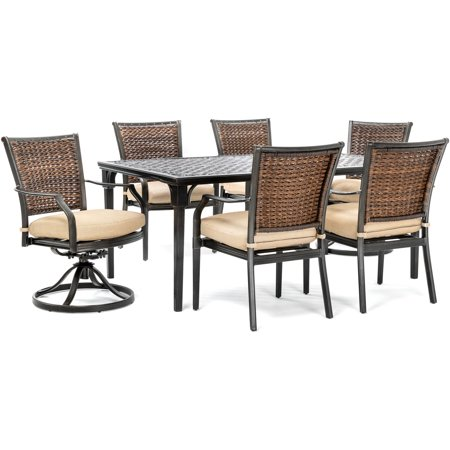 Hanover Mercer 7-Piece Patio Dining Set in Country Cork with 4 Dining Chairs, 2 Swivel Rockers, and a 40